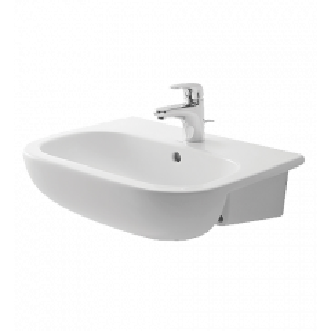 Britex 550 Ceramic Semi Recessed Vanity Basin with One Tap Hole