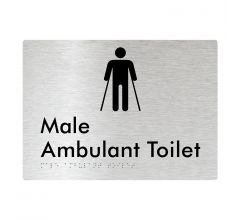 Male Ambulant Braille Signage - Brushed Aluminium