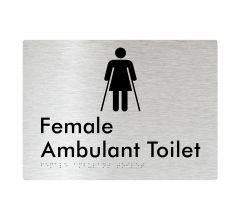 Female Ambulant Braille Signage - Brushed Aluminium