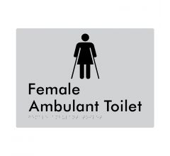 Female Ambulant Braille Signage      -Metallic Silver Polycarbonate