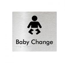 Baby Change Braille Signage - Brushed Aluminium