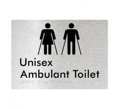 Unisex Ambulant Toilet Braille Signage - Brushed Aluminium
