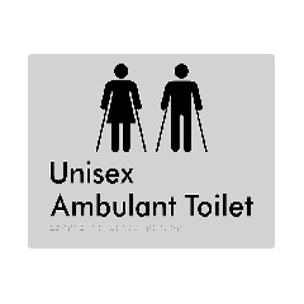 Unisex Ambulant Toilet Braille Signage - Metallic Silver Polycarbonate
