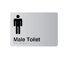 Male Toilet Acrylic Silver Braille Sign
