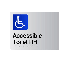 Accessible Toilet RH Acrylic Silver Braille Sign