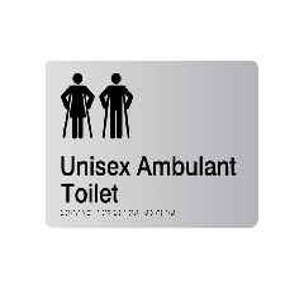 Unisex Ambulant Acrylic Silver Braille Sign