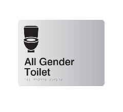 All Gender Toilet Acrylic Silver Braille Sign