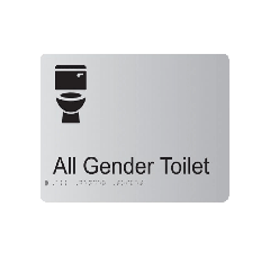 All Gender Toilet Anodised Aluminium Braille Sign