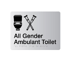 All Gender Ambulant Acrylic Silver Braille Sign