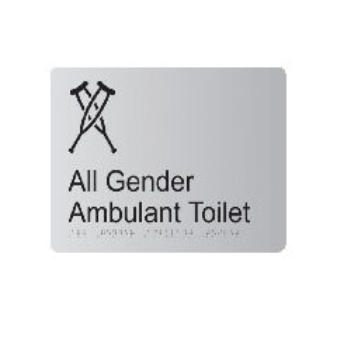 All Gender Ambulant Anodised Aluminium Braille Sign