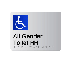 All Gender Accessible RH Acrylic Silver Braille Sign
