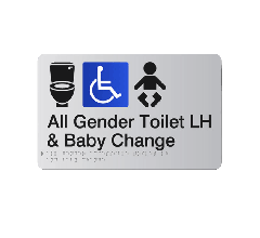 All Gender Accessible LH Baby Change Acrylic Silver Braille Sign