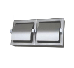 S.S. Surface Mount Double Roll Toilet Paper Hooded Dispenser