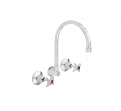 Wall Mounted Sink Set with Gooseneck Swivel
