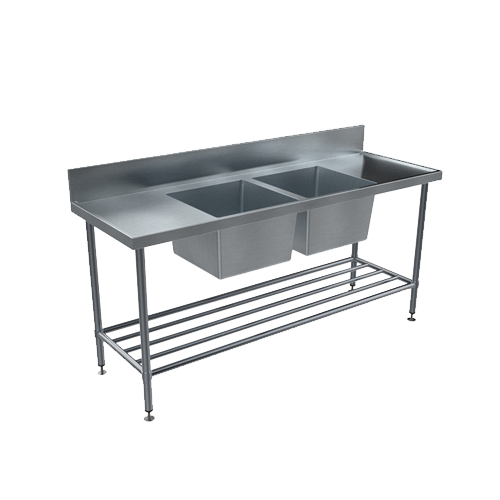 Stainless steel Double Sink Benches - Centre