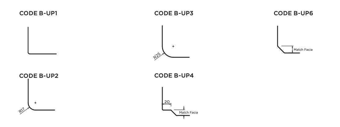 Choose the bottom of upstand style