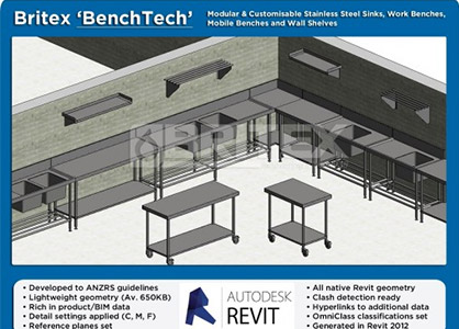 Revit Families For Stainless Steel Benches, Sinks And Shelves